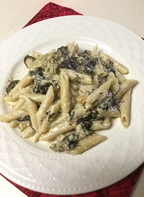Utica Greens Penne:  A Mixture Of Utica Greens, Heavy Cream And Penne Pasta.  The Addition Of Cream To The Utica Greens Makes For A Tasty Sauce When The Bread Crumbs And Parmesan Mix With The Cream.