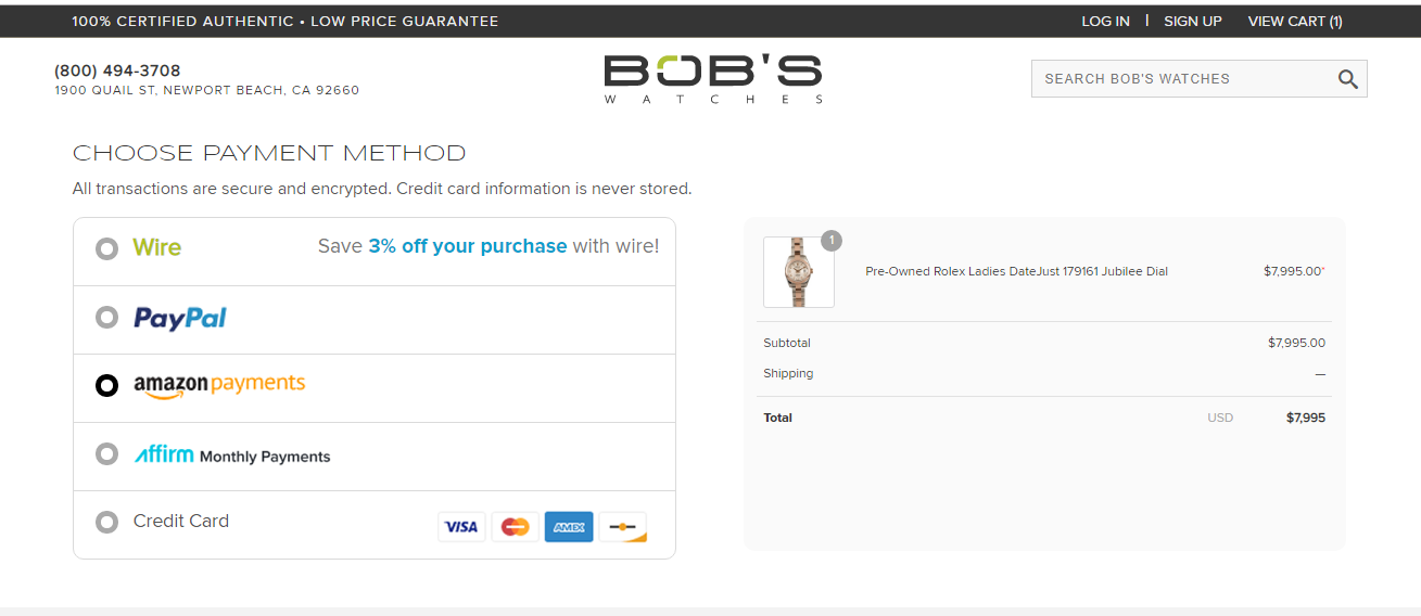 All the bob's watches coupon codes are applicable only on their official website.