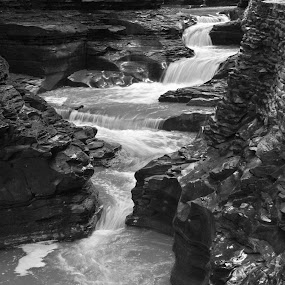 Gorge in B&W by Susan D'Angelo - Black & White Landscapes ( water, nature, flowing, gorge, waterfall, stone, landscape, rocks, formation )