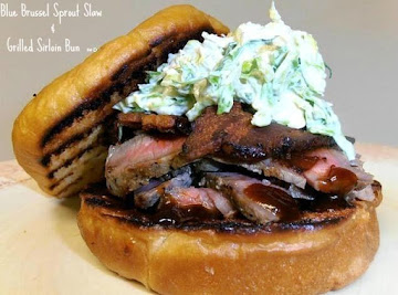 Blue Brussel Sprout Slaw & Grilled Sirloin Bun Recipe