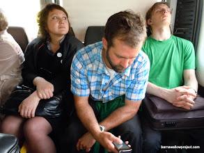 Photo: Matt on the crowded minibus to Akademogorodok