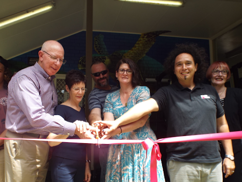 NSW Governor David Hurley, his wife Linda,  Sean Walsh's parents Andrew and Libby Walsh, Junaa Buwa manager Jesse Taylor and Mission Australia state leader Helen Lunn at the ribbon cutting ceremony to officially open the Sean Austin Walsh Memorial Gym in Coffs Harbour.