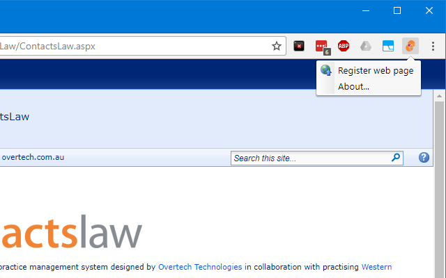 ContactsLaw Extension for Google Chrome