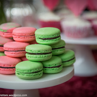 Watermelon, Raspberry and Mint chocolate chip macarons