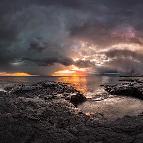 The End of Days by Sigurður Brynjarsson - Landscapes Sunsets & Sunrises ( shore, reflection, rocky, ocean, rock, beach, landscape, panorama, sun, sunny, dramatic, dark, sunshine, cliff, sea, dusk, field, iceland, dawn, lava, sunset, hvaleyri, wave, cloud, sunrise, reflect )