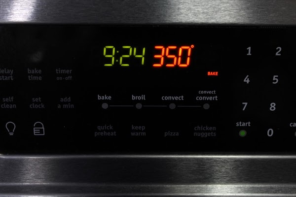The next day, approximately 1 1/4 hours before mealtime, preheat oven to 350 degrees...