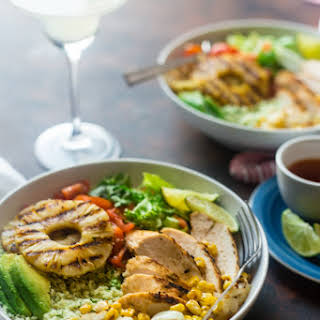 Pineapple Grilled Cauliflower Rice Mexican Chicken Bowls.