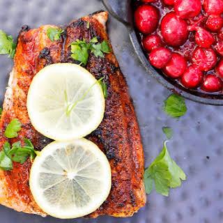 Seared Paprika Salmon with Cranberry Chutney.