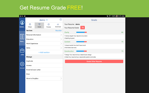 Resume PDF Builder with Jobs- screenshot thumbnail