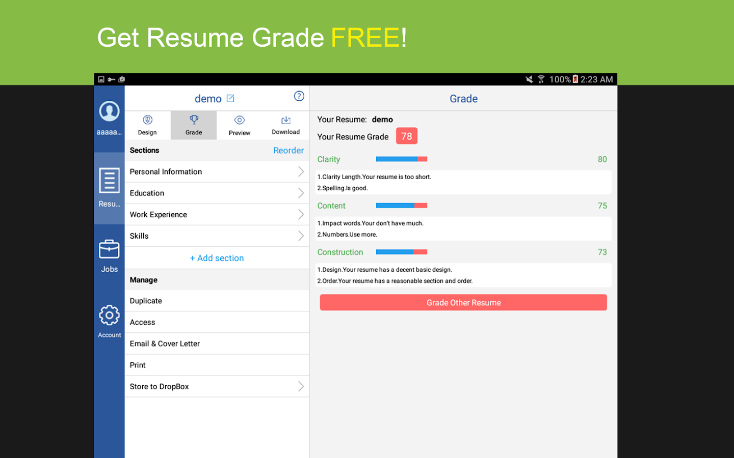 Resume PDF Builder with Jobs- screenshot