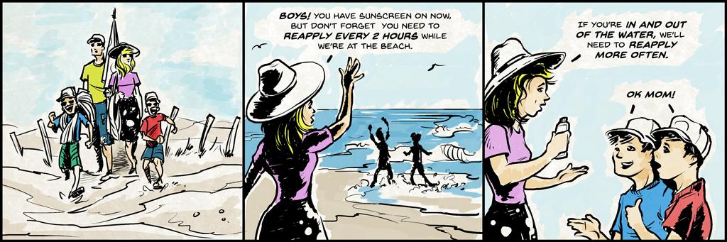 Rodzinne spacery po plaży.  Mama mówi: Chłopcy!  Masz teraz krem przeciwsłoneczny, ale nie zapominaj, że musisz ponownie aplikować co 2 godziny, gdy jesteśmy na plaży.  Jeśli wchodzisz i wychodzisz z wody, będziemy musieli częściej występować ponownie.  Chłopcy mówią: Ok mamo!