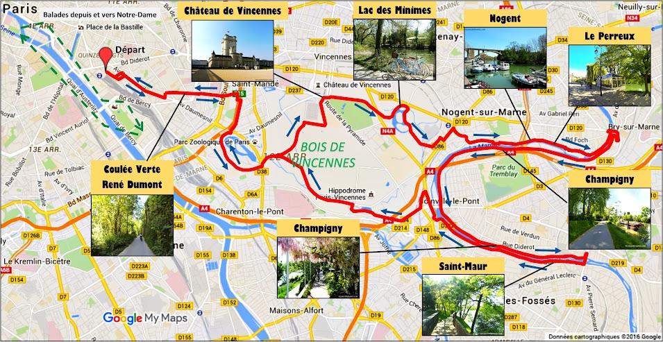 Tracé Balade à vélo vers les Bords de Marne par veloiledefrance.com