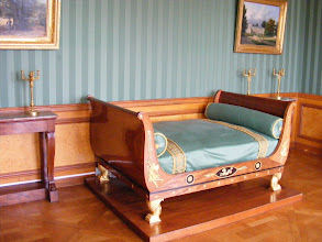 Photo: This display includes a bed (which looks uncomfortably short to me) from the Louis XIV period.