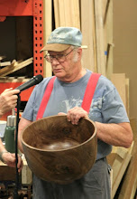 Photo: Bob Grudberg with his walnut BOWL! whose real size doesn't show in the Gallery shot, which is why we do these too!