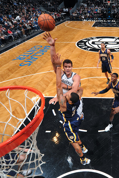 Photo: Kris Humphries #43 of the Brooklyn Nets shoots against George Hill #3 of the Indiana Pacers during the game at the Barclays Center on January 13, 2013 in Brooklyn, New York.