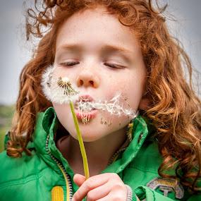 make a wish by Sheena True - Babies & Children Children Candids ( girl, seeds, redhead, freckles, dandilion )