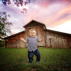 Fall Portrait by Beth Ann - Babies & Children Toddlers ( barn, sunset, wide angle, boy, green grass )