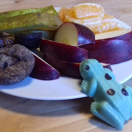 Frog and Fruit by Gay Reilly - Novices Only Objects & Still Life ( chocolate, fruit, frog, dried fruit, bright colours )