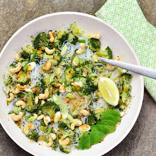 Broccoli Bean Thread Vermicelli Salad with Hoisin Dressing.