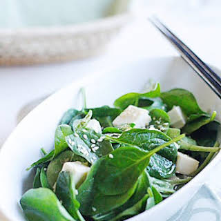 Spinach and Tofu Salad with Japanese Sesame Miso Dressing.