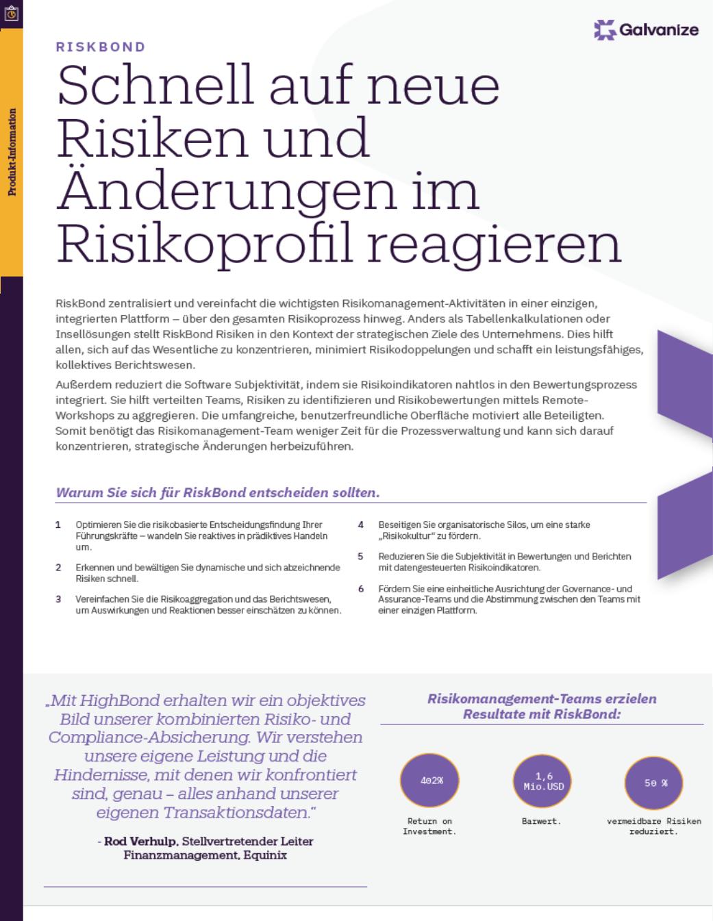 Schnell auf neue Risiken und Änderungen im Risikoprofil reagieren