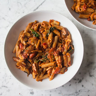 Simple Tomato and Mushroom Pasta.