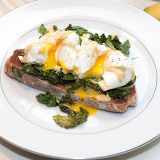 Garlic Basil Kale Poached Eggs Toast with Tahini and Lemon Dressing