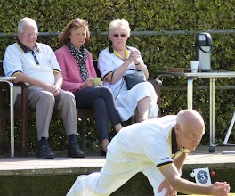 Photo: Brian Streeter, Gail Hall from Warners and Ann Armstrong watch Brian Perryman.