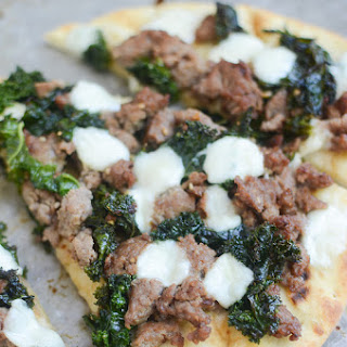 Sausage and Kale Naan Pizza.