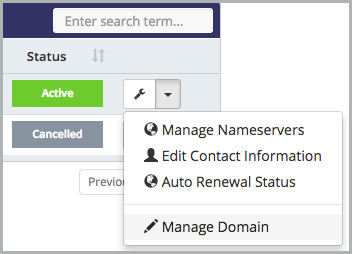 Manage Domain is selected from the Tools drop-down list.