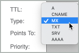 From the Type list, MX is selected as the record type.