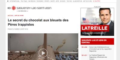 Le secret du chocolat aux bleuets des Pères Trappistes Radio-Canada