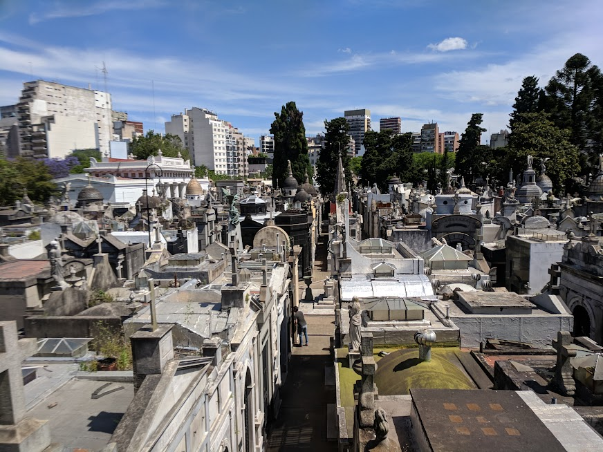 Recoleta Cemetery, seen from the neighboring church cloister