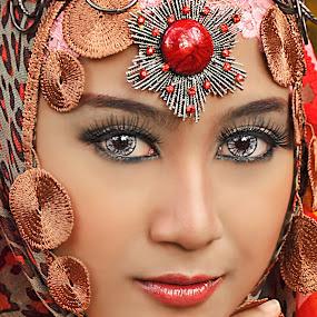 by Dima Okto - People Portraits of Women ( women, lady, red )