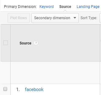 Screenshot of the primary dimension menu in Google Analytics.
