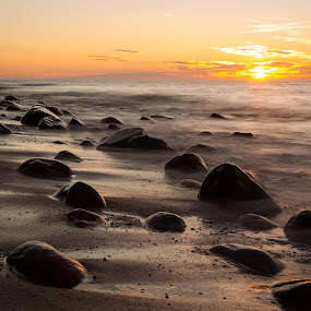 Rozewie, Poland by Paweł Mielko - Landscapes Beaches ( landscapes, landscape photography, sunrise, poland, sunsets, long exposure, landscaping, sun, sea, summer, beaches, nikon, sunlight, seascape, seascapes, beach, sunset, stones, rozewie, landscape, summertime,  )
