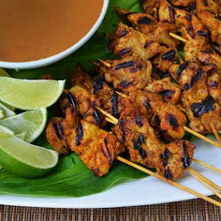 Chicken Satay with Peanut Sauce.