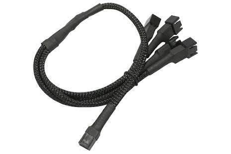 Forgrener, 3 pins vifte til 4x3 pins vifte, kabelstrømpe, 30 cm, sort