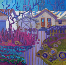 "Photo: ""Hagemann Homestead"", acrylic on canvas 12"" x 12"", © Nancy Roberts. Private collection."