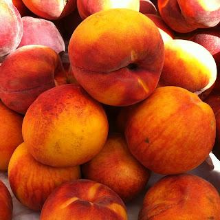 Peaches In Raspberry Yogurt Sauce.