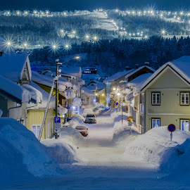 by Geir Christensen - City,  Street & Park  Neighborhoods ( houses, winter, snow )
