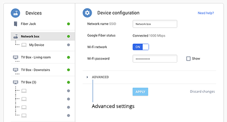View advanced settings in your Google Fiber account.