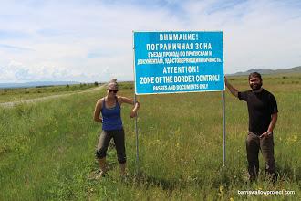 Photo: Liz and Matt as far as they can go toward the Mongolian border