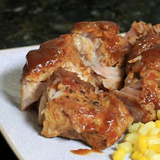 Baked Country Style Ribs With Maple Barbecue Sauce.