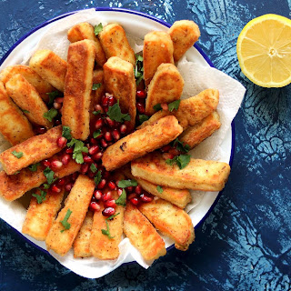 Halloumi Fries with Spicy Harissa Yoghurt.