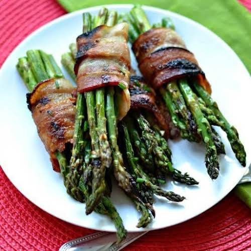 "Oven Bacon Wrapped Asparagus ""These Oven Bacon Wrapped Asparagus bundles are easy..."