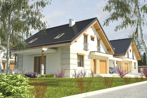 projekt Nowinka z garażem i wiatą bliźniak A1-BL1