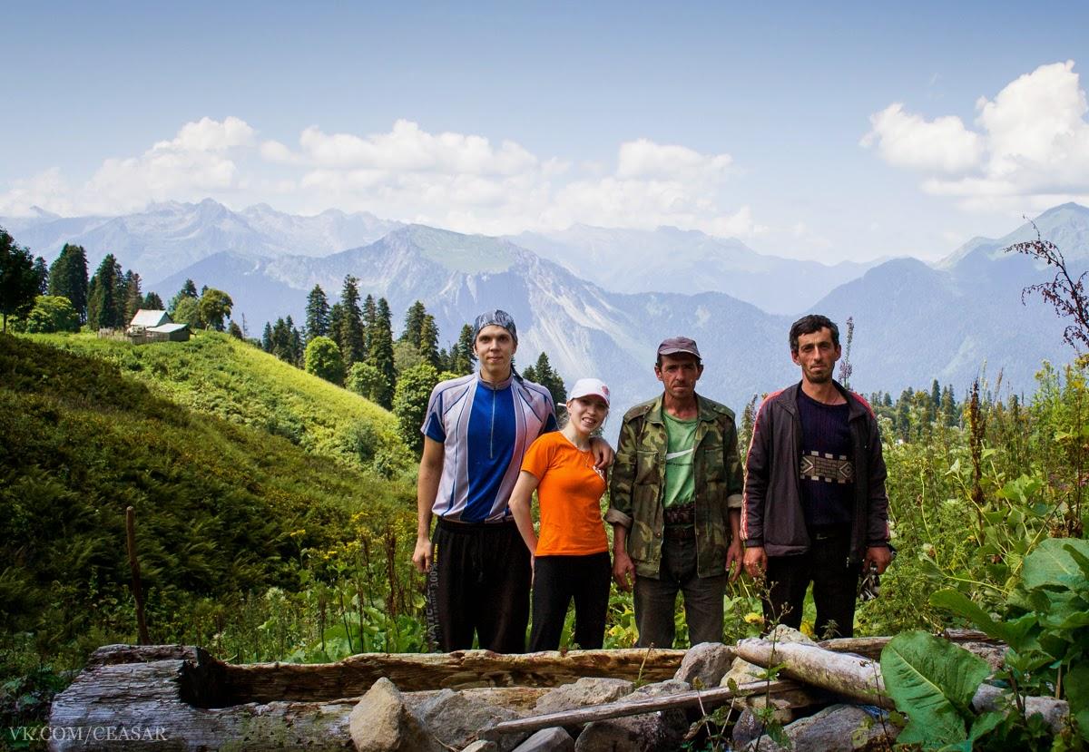 Местные жители в горах Абхазии