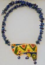 Photo: <BEREHYNYA> {Great Goddess Protectress} unique one-of-a-kind statement jewellery by Luba Bilash ART & ADORNMENT  GEO-GLAM – ГЕО-ГЛАМУР - copper enamel pendant, lapis lazuli, rose gold vermeil SOLD/ПРОДАНА