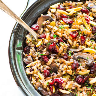 Crock Pot Stuffing with Wild Rice, Cranberries and Almonds.